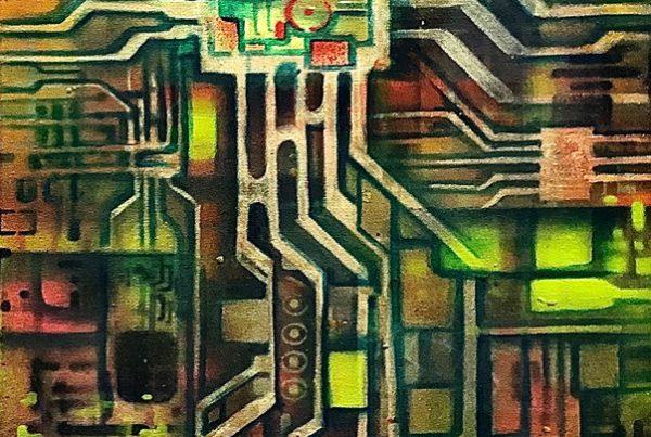 Circuit 2 40x120 Spraypaint & Acryl on Canvas