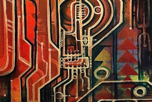 Circuit 3 40x120 Spraypaint & Acryl on Canvas