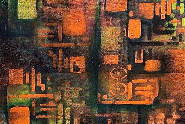 Circuit Board 4 30x100 Spraypaint & Acryl on Canvas