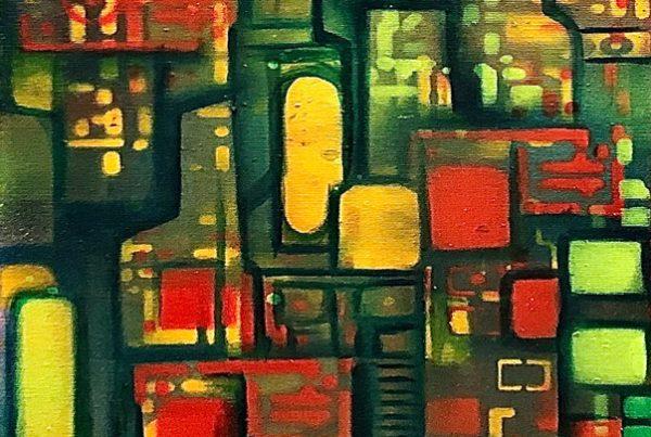 Circuit Board 1 40x120 Spraypaint & Acryl on Canvas
