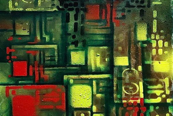 Circuit Board 2 40x120 Spraypaint & Acryl on Canvas