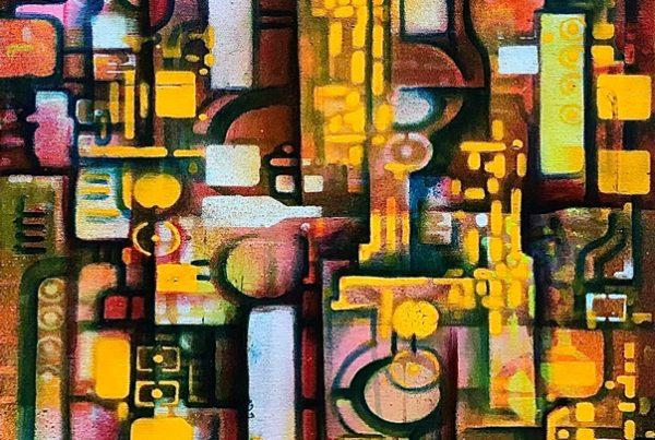 Circuit Board 3 40x120 Spraypaint & Acryl on Canvas