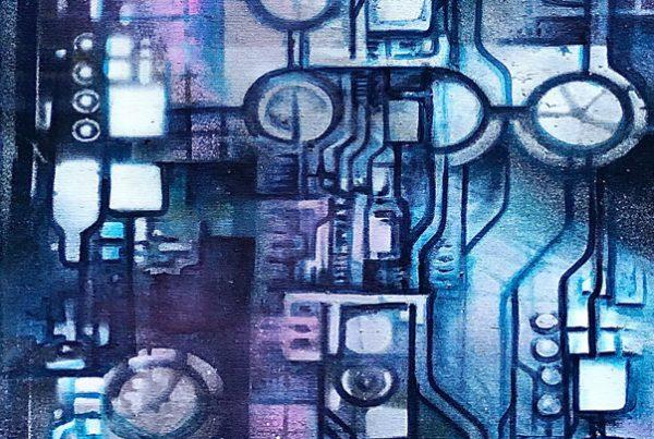 Circuit Board Blue 40x120 Spraypaint & Acryl on Canvas