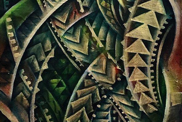 Polynesian Flow 40x120 Spraypaint & Acryl on Canvas
